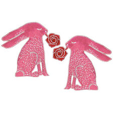 VEGASBEE® PINK RABBIT ROSE RED EMBROIDERED IRON-ON PATCH FASHION SET 2 APPLIQUÉ