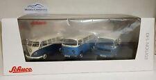 """Schuco 1/43: 03744 Set """"VW Transporter - die Luftgekühlten"""" mit VW T1, T2 und T3"""