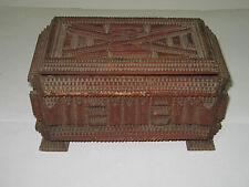Einmalige Tramp Art Schatulle ~ antike Volkskunst