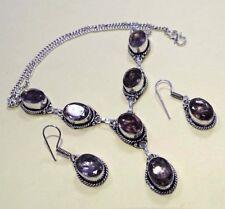 "Smokey Topaz 925 Silver Overlay Necklace & Earrings Set Jewelry 20 "" Inch S"