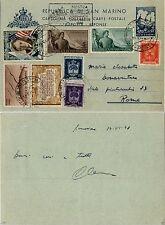 SAN MARINO-Cartolina postale TRE PENNE 4L(C23)+affrancatura varia-14.6.1948