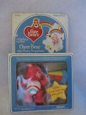 1980s CARE BEAR POSEABLE FIGURE CHEER BEAR WT MERRY MEGAPHONE IN BOX