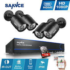 SANNCE 1080P 8CH DVR 4x In/Outdoor IR CCTV Security Camera System 1TB 2MP Video