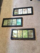 """Antique 1920's Stained Leaded Glass Transom Windows 18""""x11.5"""" Lot Of 3 Pieces"""
