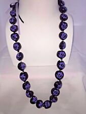 NEW Hawaii Wedding Kukui Nut Lei Necklace ~ BLACK W/ PURPLE HONU TURTLE