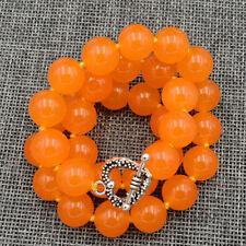 12mm Rare Orange South America Topaz Gems Necklace Tibetan silver love clasps18'
