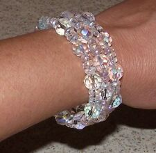 Sparkling Crystal Bracelet Coil Beaded Wrap - USA - Great Gift - Glass Beads NEW