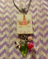 Unicorn Floral Pink Necklace HANDCRAFTED Cute Jewelry Fun Gift Party Favor