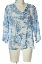 RICH & ROYAL Langarm-Bluse weiß-blau Allover-Druck Casual-Look Damen Gr. DE 40