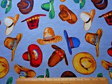 Western Fabric By Yard Cowboy Hat Toss Rope 2-Sm Borders on Blue Denim Lk Cotton