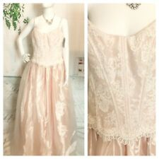 Cache Women's Beige Pink Lace Full Wedding  Formal Gown Dress Plus 14 New $298