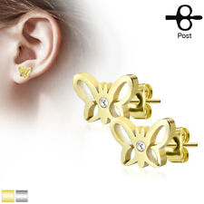 FAMA Hollow Butterfly with Crystal Center 316L Stainless Steel Earring Studs