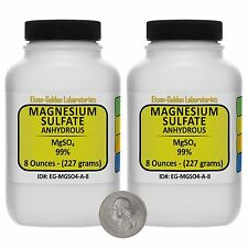 Magnesium Sulfate Anhydrous [MgSO4] 99% ACS Grade Powder 1 Lb in Two Bottles USA