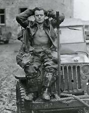 WWII B&W Photo German Luftwaffe Pilot POW on Jeep  WW2 World War Two / 2038