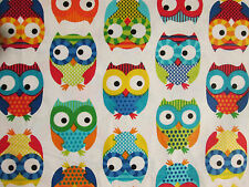 OWLS HOOT MULTI COLORED OWL WHITE COTTON FLANNEL FABRIC BTHY