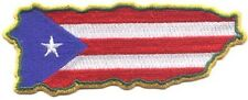 "5 Puerto Rico Flag in Map Embroidered Patches 4.75""x1.8"" iron-on"