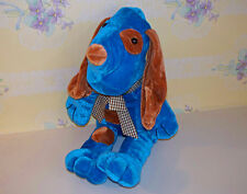 """Genich 14"""" Blue Dog Brown White Checked Ribbon Wears Brown Patches Floppy Ears"""