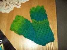 HANDMADE CROCHET DRAGON SCALE FINGERLESS GLOVES SHADES OF GREEN