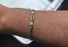 Edles 585 Gold-Armband mit blauen Steinen Länge ca 18,5 cm