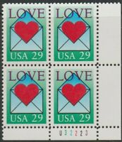Scott# 2618 - 1992 Commemoratives - 29 cents Love Plate Block