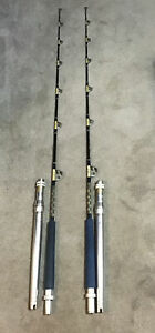 "Pair Of Kunnan 6'9"" IGFA 30lb Aftco Aluminum Butt &roller Guides CG78-3 Lot T19"