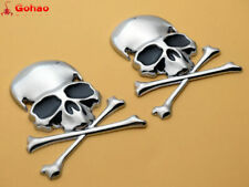 Silver Metal 3D Skull Bone Emblems 7 x 6cm Skeleton Tank Badges of 2pcs new 2X