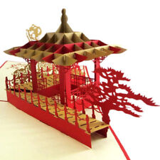 3D Greeting Card China Style Pop Up Blessing Card Kirigami for All Occasions