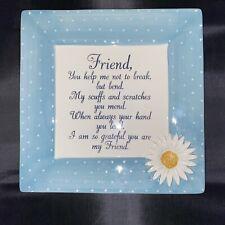 "New listing MWW Market Large 11"" Ceramic Friend Friendship Plate Square Embossed Platter"