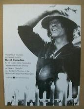David Carradine 1974 Ad- Kung Fu Golden Globe nomination congratulations