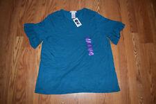 NWT Womens Philosophy Blue Blazer Ruffled Short Sleeve Shirt Size 2XL XXL