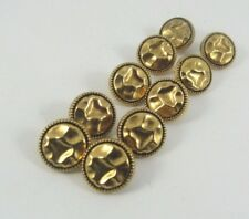 10 Round Buttons Gold Colour Shank 12 mm Wide