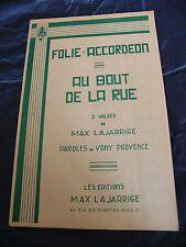 Partition Folie Accordéon Au bout de la Rue Max Lajarride Valses