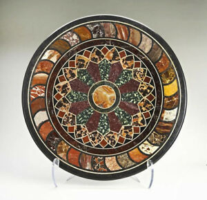 """36"""" black Marble coffee round Table Top Pietra Dura marquetry inlay art work"""