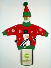 SNOWMAN SWEATER & CAP Food Network Knit Wine Bottle Cover New with Tags