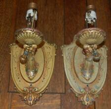 MATCHING PAIR OF ANTIQUE LINCOLN 875 CAST METAL HANGING WALL SCONCES ART DECO