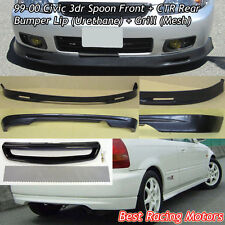 SPN Style Front (PU) + CTR Rear Lip (PU) + Grill (Mesh) Fit 99-00 Civic 3dr