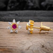 White CZ Snowflakes Sun Flower Synthetic Ruby Women Girls Stud Earrings Jewelry