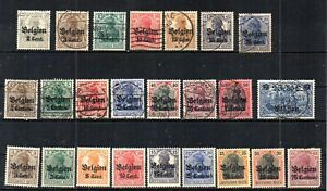 WWI GERMAN OCCUPATION OF BELGIUM 1916-18. CENT. & CENTIMES GERMANIA OVERPRINTS.