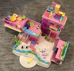 Polly Pocket Purple Blue Folding Dollhouse Heart Form Moving Details Vintage Toy Playcase FLAW ~ SS009