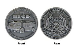 RAAF Fire and Rescue Oshkosh Striker AT Challenge Coin - 45mm