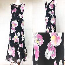 J Taylor Debenhams Black Maxi Dress pink floral party wedding 12 New RRP£60 /N7