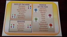 DAYS MONTHS SEASONS - A4 POSTER - DISPLAY / FIRST LEARNING/ EYFS/CHILDMINDER