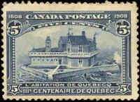 1908 Mint H Canada F+ Scott #99 5c Quebec Tercentenary Issue Stamp