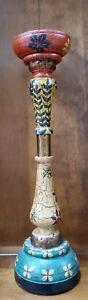 Pier 1 Wooden Crackle Paint Pillar Candlestick Holder Approx.18 1/4 in Tall.