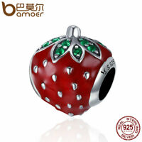 BAMOER New S925 Sterling silver Charm Enamel Big strawberry Fit bracelet Jewelry