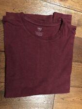 "M&S Mens T Shirt Size Large 42"" Chest Burgundy Short Sleeve Crew Neck"
