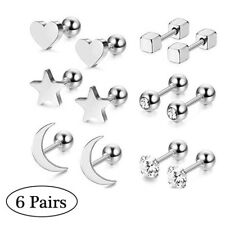 6 Pairs Heart Star Moon Earrings 925 Sterling Silver Crystal Ear Studs Ball Set