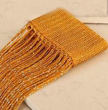 (1) String GOLD CURTAIN 1x2 M w/ Flat Silver Ribbon Thread, for Door Window Pane