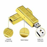 Clé usb 128 Go Gold Bar 2.0 Flash Drive Storage Mémoire Pour PC Wins 7/8/10