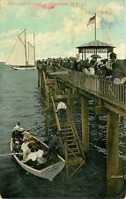 DB Postcard NJ F401 Off to the Fishing Asbury Park Pier People Boats 1908 Cancel